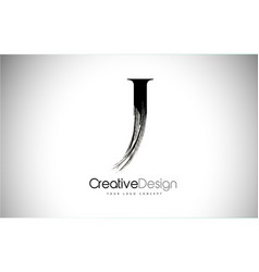 J brush stroke letter logo design black paint vector