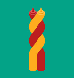 ketchup and mustard twisting hugs fast food vector image