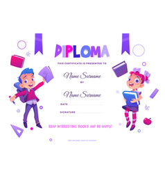 kids school diploma happy children with books vector image