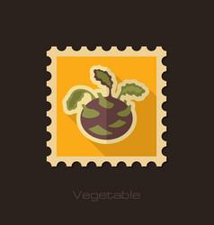 kohlrabi flat stamp vegetable vector image