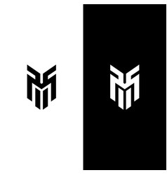 Letter m line logo design vector