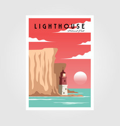 Lighthouse and sea poster background vintage vector