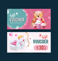 Love voucher design with teddy bear cupid vector