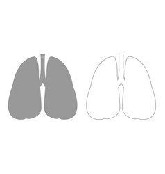 Lungs grey set icon vector