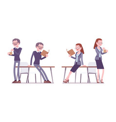 male and female teacher resting vector image