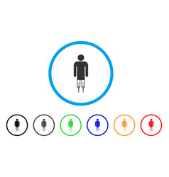 Man crutches rounded icon vector