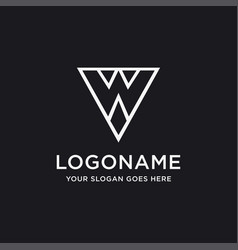 minimalist letter w logo icon template vector image