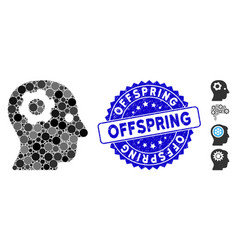 Mosaic thinking gear icon with textured offspring vector