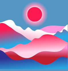 mountain landscape with sun vector image