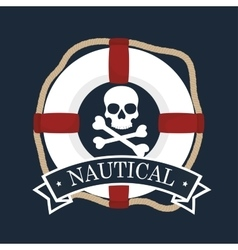 Nautical emblem float icon vector