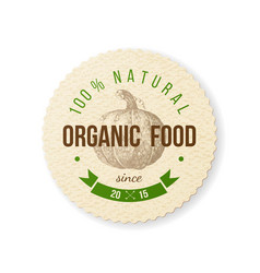 organic food round paper emblem vector image