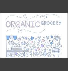 organic grocery set hand drawn sketches of vector image