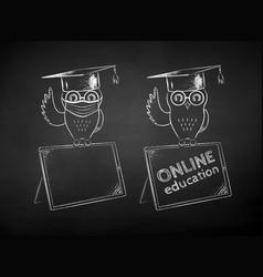 Owl sitting on digital tablet vector