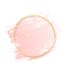 pink brush stroke with golden round frame vector image
