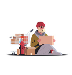 poor man with belongings in a trolley sitting on vector image