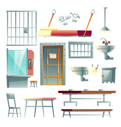 prison cell interior elements cartoon set vector image