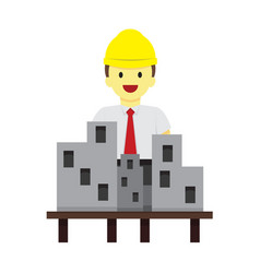 professional worker with site model graphic vector image
