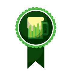 rosette badge with beer glass foamy drink vector image
