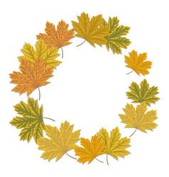 round maple leaf frame autumnal wreath frame with vector image