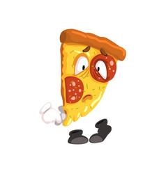 Sad slice of pizza funny cartoon fast food vector