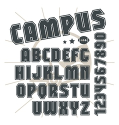 Sans serif font in college style vector