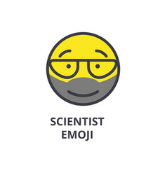 scientist emoji line icon sign vector image