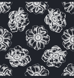 Seamless pattern with hand drawn chalk anemone vector