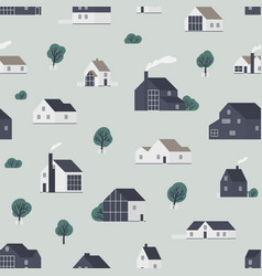seamless pattern with wooden country houses town vector image
