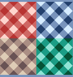 Set checkered seamless diagonal background vector