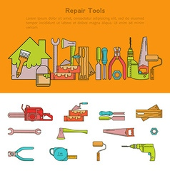 Set of building tools icons Linear vector image