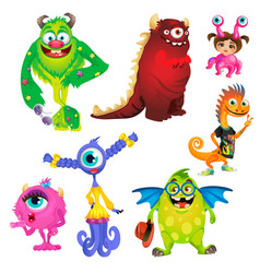 set of cute kind smiling animated monsters vector image