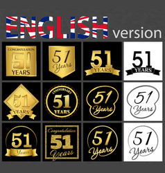 Set of number 51 templates vector