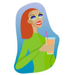 Sexy girl in a ski suit with a cocktail in vector