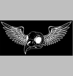 silhouette bird skull with wings for tattoo design vector image