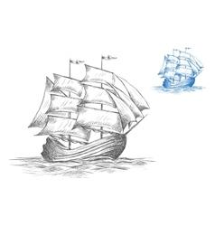 sketch sailing ship under full sail vector image