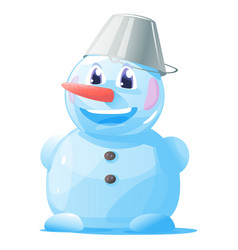 small smiling snowman vector image