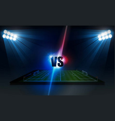 soccer arena field with bright stadium lights vector image