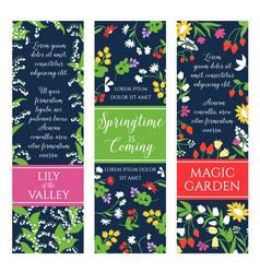 Springtime garden flowers banners set vector