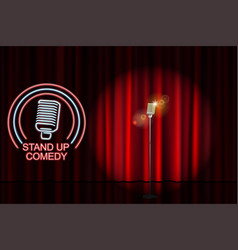 stand up comedy with neon microphone sign and red vector image