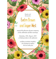 Summer floral of wedding invitation vector