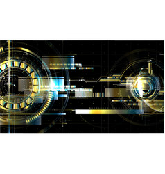 Technological space metallic hud background vector