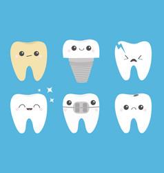 Teeth icon set cracked broken healthy yellow vector