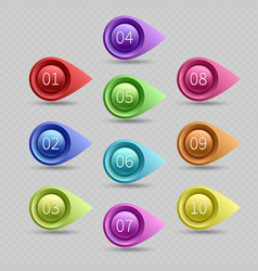 Ten color bullet points with numbers vector