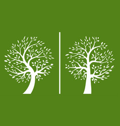 tree green logo set silhouette a tree icon vector image