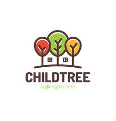 trees with home in negative space logo design vector image