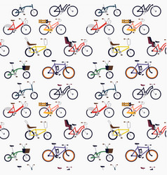 urban different style bicycles seamless pattern vector image