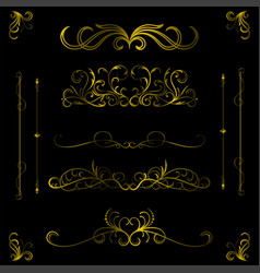 vintage gold color decorative hand drawn elements vector image
