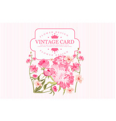 Vintage greeting card with pink flowers and place vector