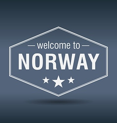 Welcome to Norway hexagonal white vintage label vector