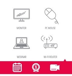 Wi-fi router pc mouse and monitor tv icons vector